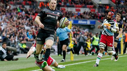Saracens' Chris Ashton scored two tries in the victory over Harlequins at Wembley