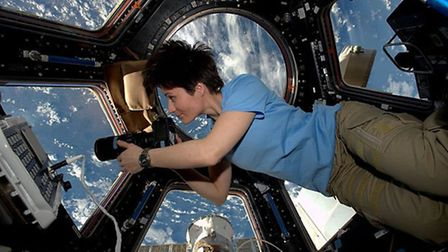 European Space Agency astronaut Samantha Cristoforetti on the International Space Station