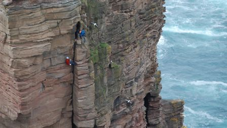 Red Szell climbing the Old Man of Hoy