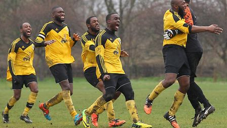 Boroughs United celebrate victory against Wojack Sunday in the Hackney & Leyton Sunday League Junior