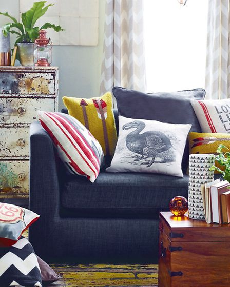 Desert collection with natural chevron curtains; Route 66 cushion; and Tufted arrow cushion, George