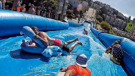 Organisers were hoping to bring a slip & slide to Hampstead Heath. Picture: Facebook/University Soci