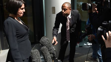 Sadie Frost makes a statement to journalists after receiving phone-hacking damages. Photo: Andrew M
