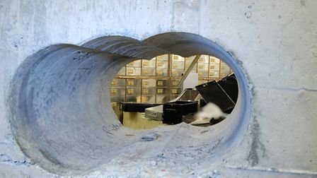 The thieves used a heavy duty drill to bore through the vault