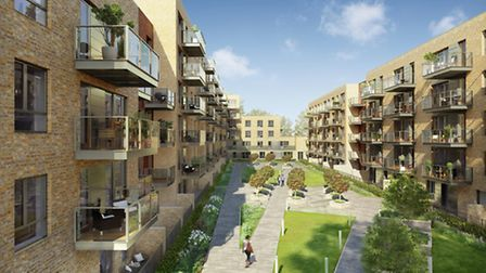 CGI of the landscaped courtyard at Smithfield Square in Hornsey