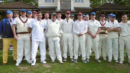 Old Cholmeleians line up alongside their Lords Taverners opponents