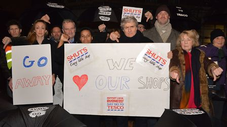 Community campaigners, including Tom Conti, protested outside the site of the proposed new Tesco in