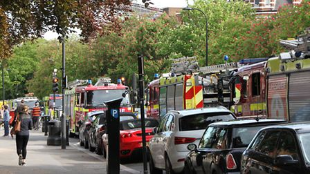 Emergency vehicles attend Belsize Park Underground Station on Saturday after a person fell under a t