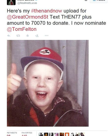 The tweet from Matt Lucas supporting #thenandnow