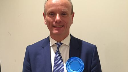 Conservative Mike Freer was in good spirits on learning he had won Finchley and Golders Green. Pictu