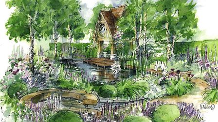 An illustration of the M and G garden, designed by Jo Thompson, for the RHS Chelsea Flower Show 2015