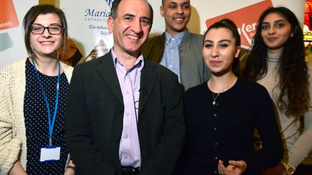 Armando Iannucci at Maria Fidelis School, Euston on 27.04.15. at a Speakers For School event picture