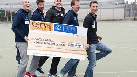 Disabled children and volunteers of KEEN London met a team of runners who recently completed seven m