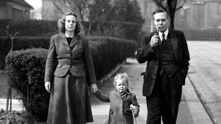Harold Wilson, with his wife and their three-year old son Giles strolling near Southway