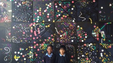 Youngsters from Millfields with their artwork