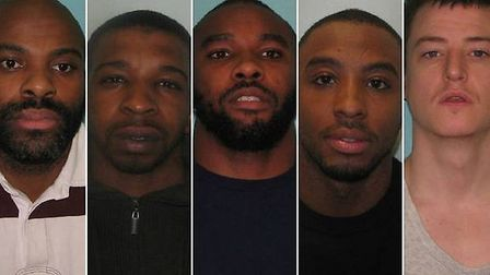 Keith Walker, Christopher White, Courtney Bishop, Nigel Bishop and Allan Smith were jailed for their