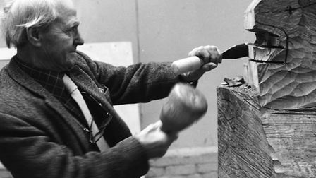 Henry Moore in his studio by