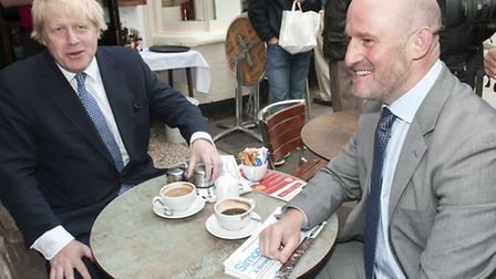 The Mayor of London visits The Coffee Cup on Hampstead High Street with Conservative Candidate Simon