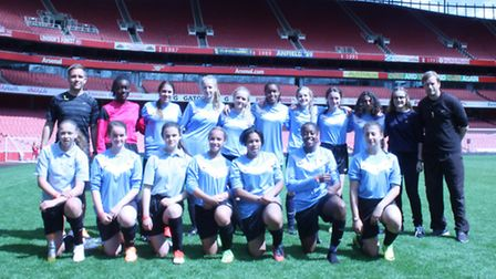 Stoke Newington girls U16s at Emirates Stadium