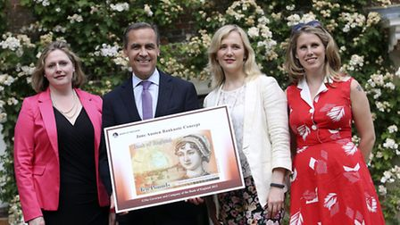 Left to right: MPs Mary Macleod and Stella Creasy with Caroline Criado-Perez and Mark Carney, Govern