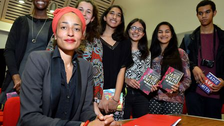 Author Zadie Smith with pupils at Henrietta Barnett School. Picture: Polly Hancock
