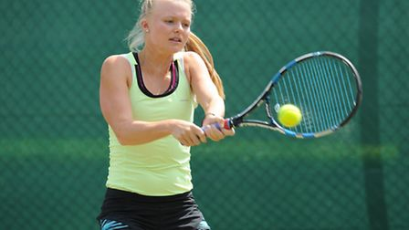 Harriet Dart practises on the grass courts at the National Tennis Centre at Roehampton. Pic: Paolo M