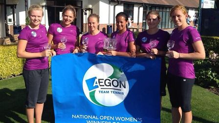 Harriet Dart (far left) with the Cumberland ladies team that retained the Aegon Team Tennis national