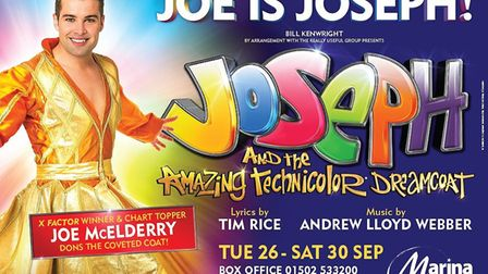 Joe McElderry in Joseph and the Amazing Technicolor Dreamcoat. Picture: Courtesy of Marina Theatre