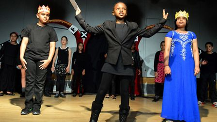Pupils from St Mary & St Pancras School perform at the Shakespeare festival. Picture: Polly Hancock