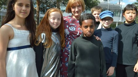 Former MP Tessa Jowell with some of the children taking part in the Shakespeare festival. Picture: P