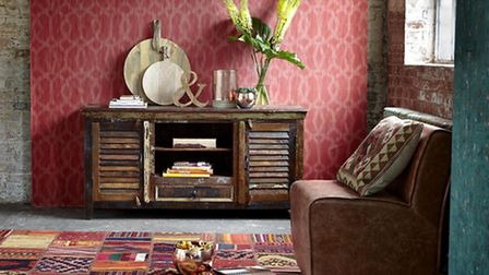 The Mary Rose TV Plasma Unit, Merle Set of 3 Copper Votive Bowls (shown on unit and floor), availabl