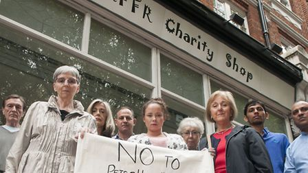 Traders and residents demonstrate against the Dog Parlour coming to South End Green. Picture: Nigel