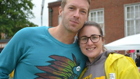 Chris Martin with Claire Phillips of Cystic Fibrosis Trust at the Highgate School summer fair