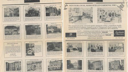Benham & Reeves property advert from the Ham&High, showing asking prices in 1992