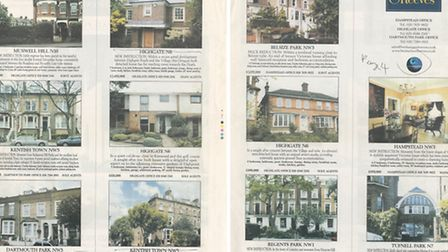 Benham & Reeves property advert from the Ham&High, showing asking prices in 2002