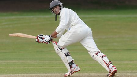 Jaahid Ali hit an unbeaten 126 at a run a ball in Hampstead's victory over Southgate. Pic: Paolo Min