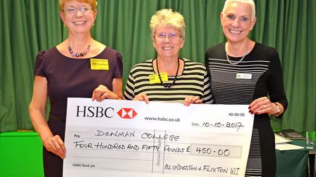 Blundeston WI cheque presentation. Christine Goldson, Barbara Shaw and Jane Collier. Picture: Mick Howes