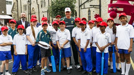Australian captain Michael Clarke with pupils at St Edward�s RC Primary School in Westminster. Pic: