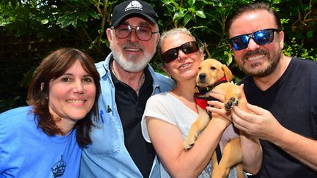 Ira Moss from All Dogs Matter with actor Peter Egan, author Jane Fallon, and comedian Ricky Gervais