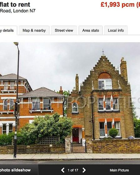 The current advert for the Spaced flat on Zoopla