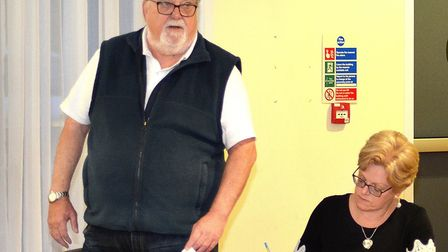 The informal referendum results are revealed at a public meeting in Kessingland. The chairman of the