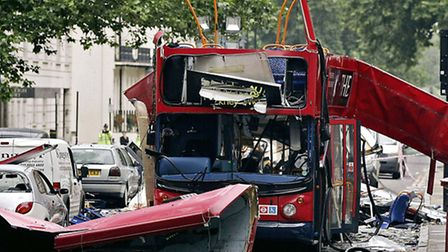 The number 30 double-decker bus in Tavistock Square, which was destroyed by a bomb following the ter