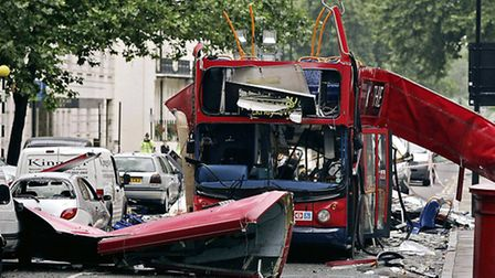 The number 30 double-decker bus in Tavistock Square, which was destroyed by a terrorist bomb 10 year