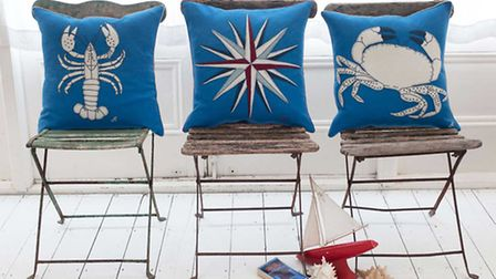 Undated Handout Photo of Jan Constantine's new Seaside Collection cushions, which have crab, lobster
