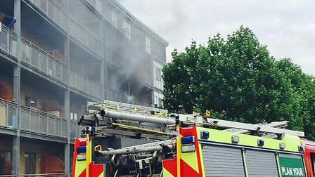 Firefighters at the scene of the fire in Upper Clapton. Picture by @ShomrimOfficial