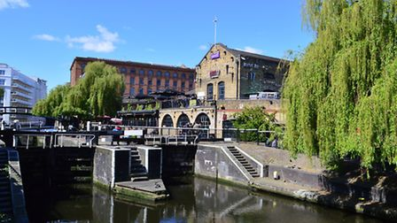 The man slipped into the canal at Camden Lock in the early morning. Picture: Polly Hancock