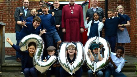 Bishop of London Richard Chatres the Bishop of London, centre, with pupils, staff and school council