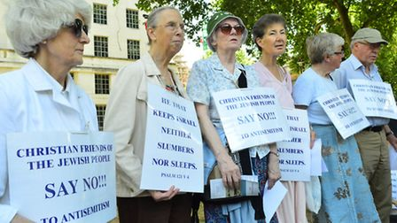 Members of Bridge Lane Christian Fellowship from Golders Green at Saturday's counter-demonstration.
