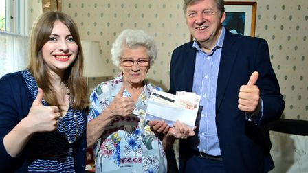 Ham&High reporter Imogen Blake and editor Geoff Martin present 99-year-old burglary victim Edith Sel