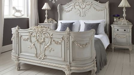 Bonaparte French bed, from £2,570; tables, £435 each, available from The French Bedroom Company. PA